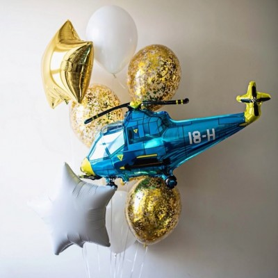 Шарик Вертолет синий и букет из шаров