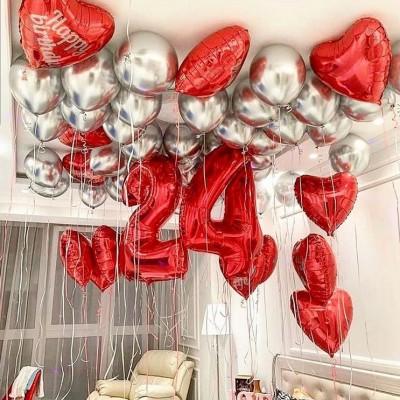 Композиции из шаров 24 года Красный и Серебро