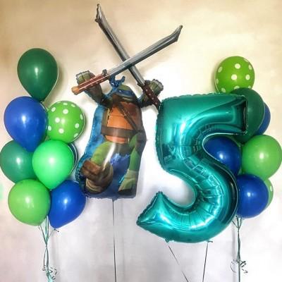Воздушные шары Черепашки Ниндзя с цифрой 5