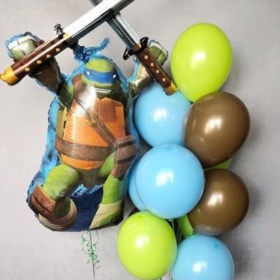 Фольгированный шар Черепашки Ниндзя и фонтан из шаров