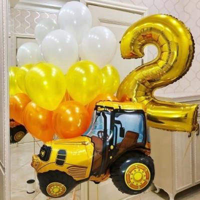Композиции из шаров Трактор желтый с цифрой 2