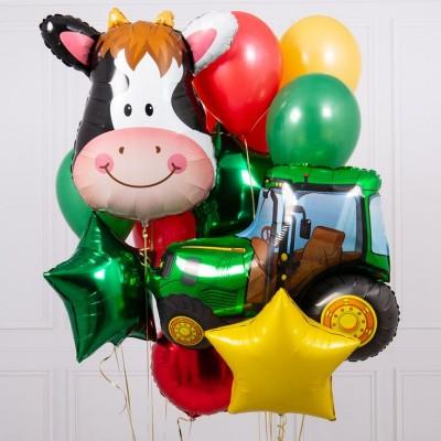 Фольгированный шар Трактор зеленый и букет из шаров