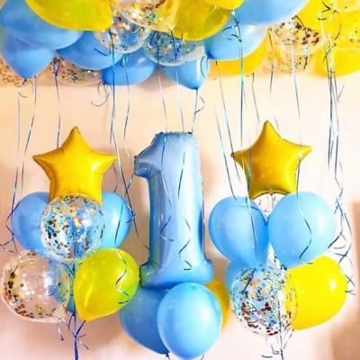 Композиция из шаров на годик мальчику Желтый Голубой