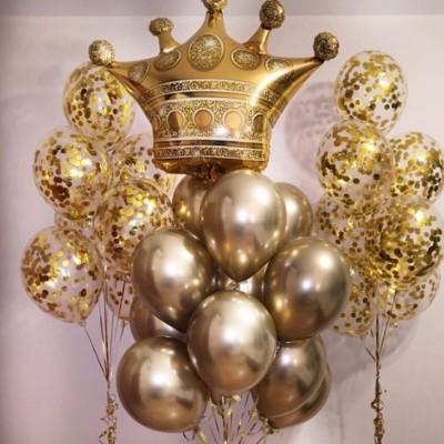 Шар Корона и золотые шары на День рождения