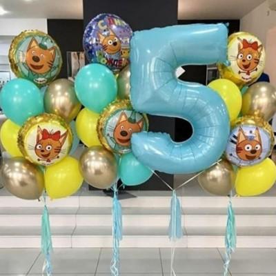 Три Кота воздушные шары с цифрой 5