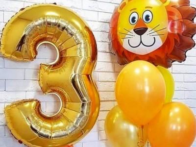 Воздушный шар Лев с фольгированной цифрой 3