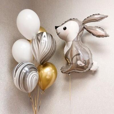 Шар фольгированный Заяц и фонтан из шаров
