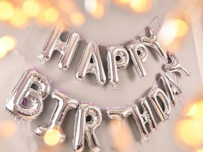 Шары буквы фольгированные Happy Birthday серебро