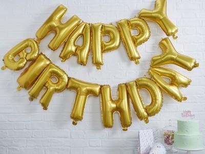Шары буквы Happy Birthday золото