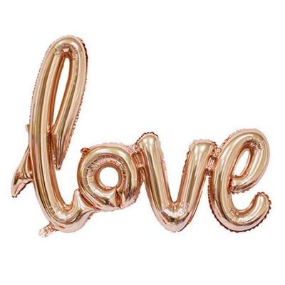 Воздушные шары в виде букв Love розовое золото