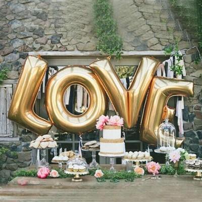 Шары буквы фольгированные LOVE золото