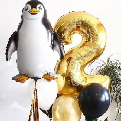 Фонтан из шаров Пингвин с цифрой 2