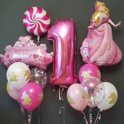 Композиция из шаров на 1 год девочке Принцесса Аврора