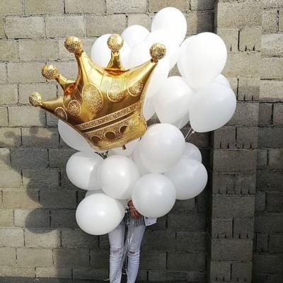 Шар Корона золотая и белые шары