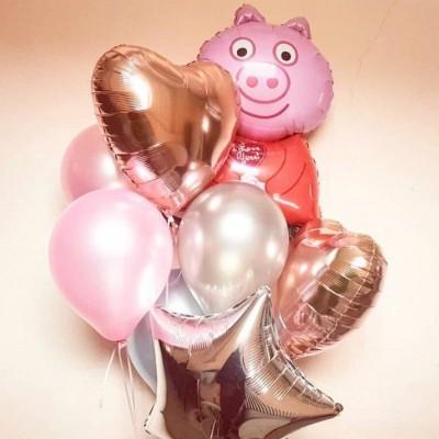 Пеппа Свинка шарики и букет из шаров