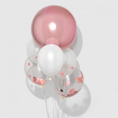 Шар сфера розовое золото и фонтан из шаров конфетти
