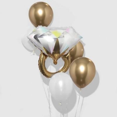 Фольгированный шар Кольцо и букет из шаров