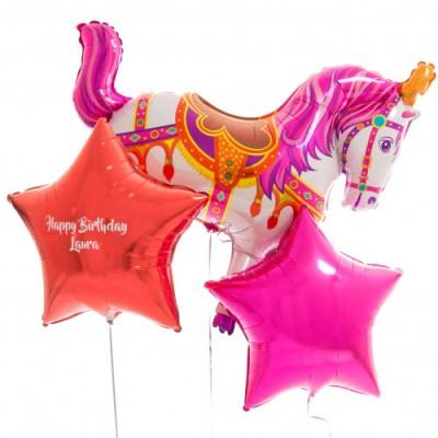 Шар Лошадь розовая цирковая и шары с надписью