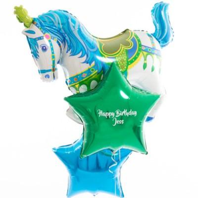 Шар Лошадь голубая цирковая и шары с надписью