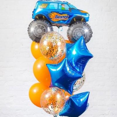 Фольгированный шар Джип и фонтан из шаров