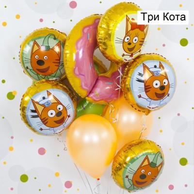 Шары Три кота и шар Пончик фольга