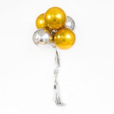 Фольгированные шары сферы золотые и серебряные