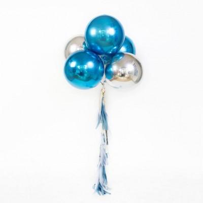 Фольгированные шары сферы синие и серебряные