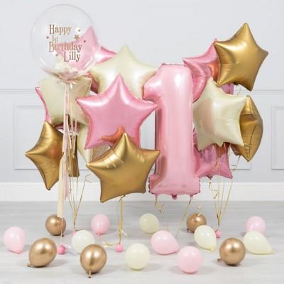 Композиции из шаров на 1 годик розовый и золото