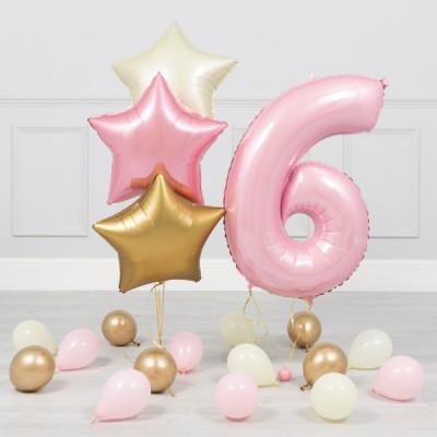 Шар цифра 6 и фонтан из шаров звезды розовые