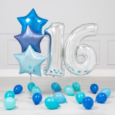 Шары 16 лет Синее Серебро
