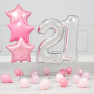 Шары цифры 21 год Розовое Серебро