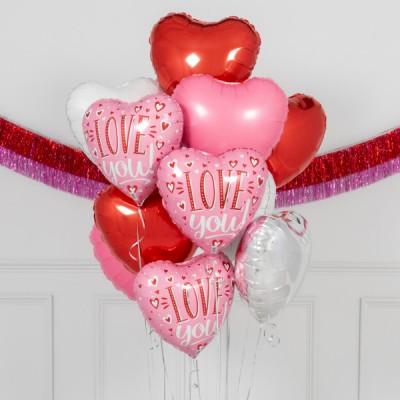 Шарики сердечки из фольги на День Святого Валентина