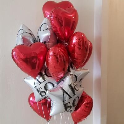 Шарики сердечки из фольги красные и звезды Любовь