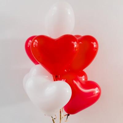 Шарики сердечки Красные и Белые