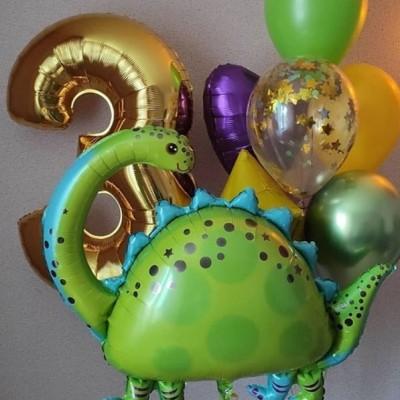 Фольгированный шар динозавр и букет из шаров