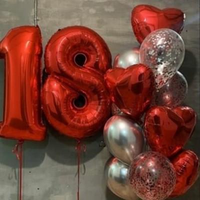 Шары на день рождения 18 лет красные