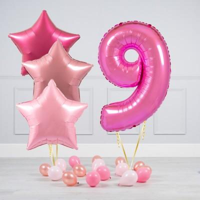 Шарик цифра 9 лет в композиции из шаров