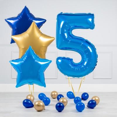 Шар фольгированный цифра 5 лет и звезды