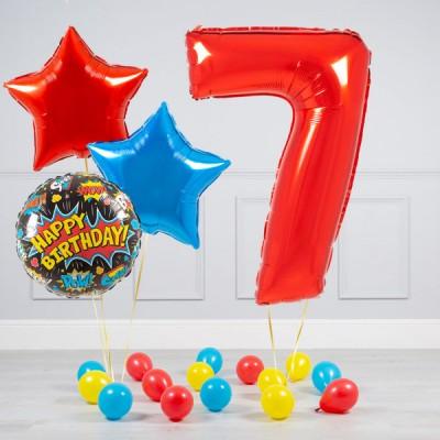 Шарик цифра 7 лет и букет шаров