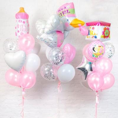 Фольгированные шары на выписку Девочка