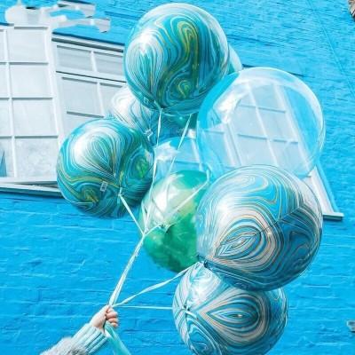 Мраморные воздушные шары сферы голубые