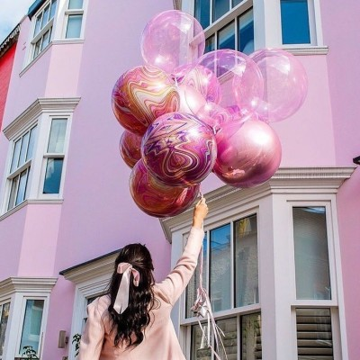 Мраморные сферы розовые