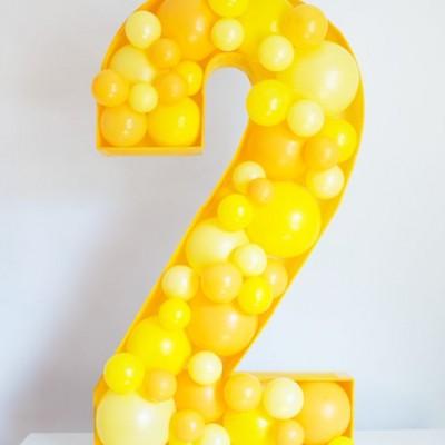 Воздушные шарики в виде цифр на 2 года