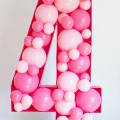 Цифра из шариков в каркасе 4 года