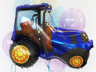 Синий трактор фольгированный шар и связка шаров
