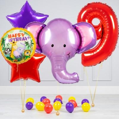 Воздушный шар Слон в наборе с цифрой
