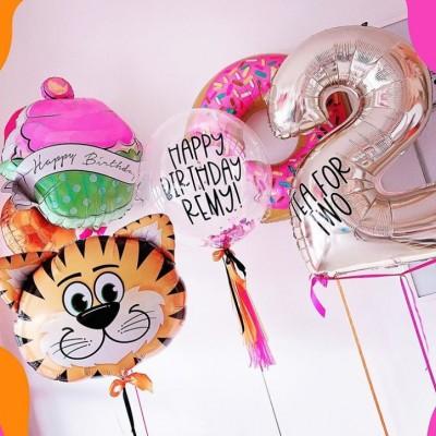 Фольгированный шар тигр и шар цифра 2 года