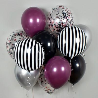 Черно-фиолетовые воздушные шары