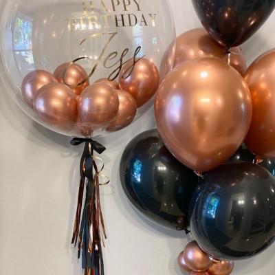 Большие воздушные шары с гелием черно-розовые