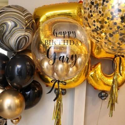 Воздушные шары на юбилей черно-золотые